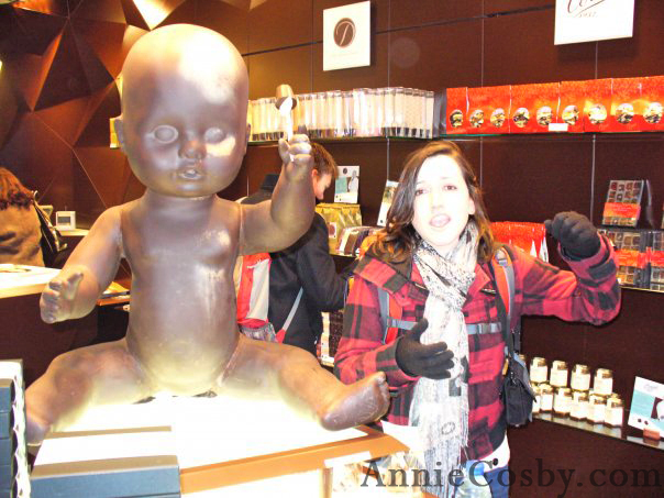 Baby made of Belgian chocolate, Brussels, Belgium